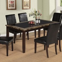 7 pc Rolle collection espresso finish wood and faux marble and glass dining table set