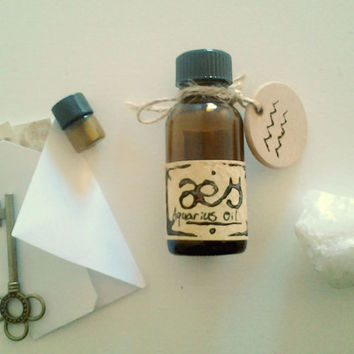 Aquarius Oil: Airy Woods, Lavender, Sage, One Full Ounce Natural Perfumed Oil Inspired by the Planetary, Elemental, Herb Lore of Aquarius