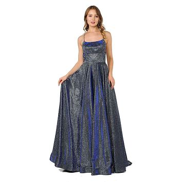 Spaghetti Straps Long Prom Dress Royal Blue with Pockets