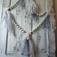 Large white rosary w/ roses handmade huge wooden French Nordic religious piece distressed lace embellished home decor anita spero design