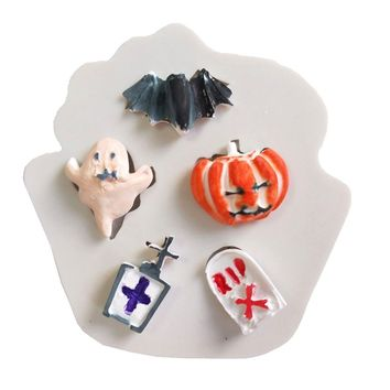 Creative Silicone Fondant Molds Bat Pumpkin Ghost Halloween Series Chocolate Cookie Candy Mould for Home Kitchen Baking Tools