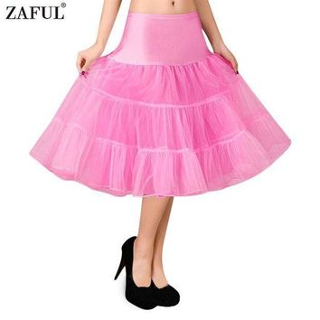 Zaful Petticoat Skirt Retro Boneless Body Wedding Gauze Women 5 Solid Colors Tutu Puff Skirt Vintage Petticoat Swing Ball Gown