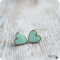 Earring Studs - Mint green Hearts