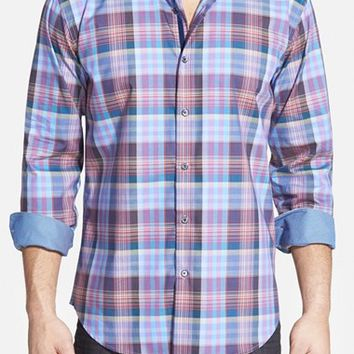 Men's Bugatchi Shaped Fit Plaid Sport Shirt,