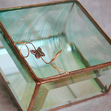 Stained Glass Jewelry Box Green Baroque 4x4 w/ a by GaleazGlass