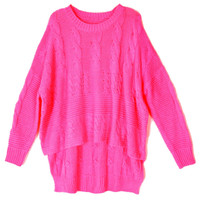 Pink Batwing Sleeve Sweater