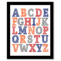 Alphabet Wall Art, Abc Art, Nursery Art, Playroom Art, Kids Art, Kids Room, Boys Decor, Red, Grey, Orange, Navy, Printable, INSTANT DOWNLOAD
