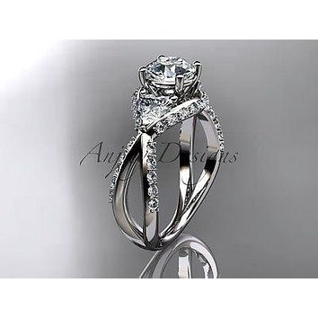 Unique Platinum diamond wedding ring, engagement ring ADLR318