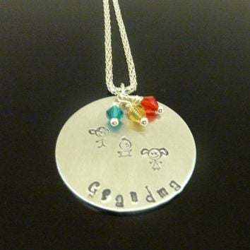 Personalized Grandma Necklace Nana children's necklace Grandmother Hand stamped jewelry