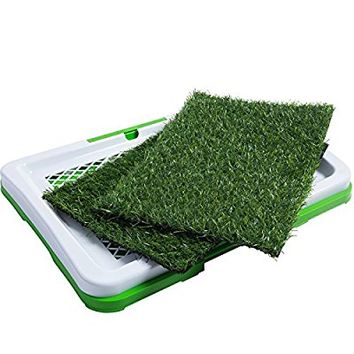 OxGord Puppy Pad Holder Training Indoor Pee Potty Trainer Litter Box (Includes 2) Synthetic Grass Pee Pads for Pet Cat Puppy Outdoor Restroom Patch