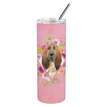 Bloodhound Pink Flowers Double Walled Stainless Steel 20 oz Skinny Tumbler CK4259TBL20
