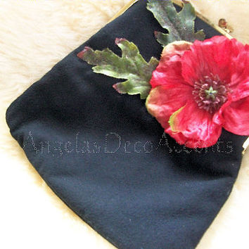 Vintage Up Cycled Clutch, Black Ingber Made in USA, Fold Over Clutch,1950's, MOD Fashion Accessory, Retro Chic, Red Silk Poppy Flower 172