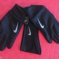 NIKE WOMENS RUNNING THERMAL HEADBAND GLOVES PERFORMANCE SET XL XLARGE BLACK NWT