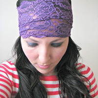 SALE Bohemian Wide Lace Headband, purple stretch lace headband, Headwrap, Hair wrap, Gift for her