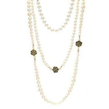 DCCKNQ2 Chanel Woman Fashion Logo Pearls Necklace For Best Gift-5