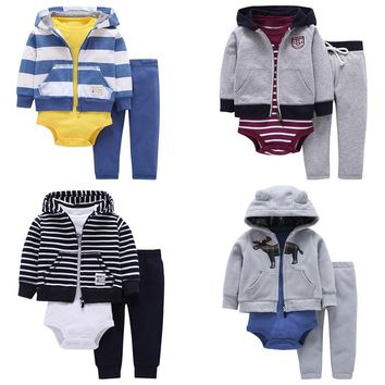 FREE SHIPPING Baby Boy Clothing set 3pcs pack Bodysuit Hooded+ Long-Sleeve Bodysuit+Long Pants Bebes Boys set