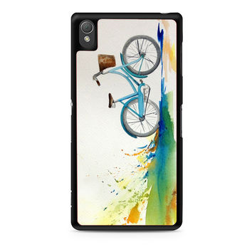 Watercolor bicycle colorful landscape Xperia Z3 Case