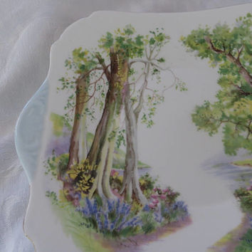 Shelley Woodland Plate, Double Handle Serving Plate, Vintage Shelley Bone China