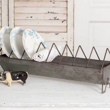 Vintage Rustic Kitchen Primitive Chick Feeder Dish Plate Drying Rack Holder