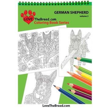 German Shepherd Coloring Book for Adults and Children - Volume 2