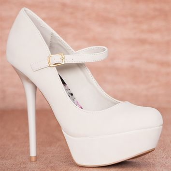 Qupid Good Girl Gone Bad Faux Suede Mary Jane Strap High Heel Stiletto Pumps Daydream-35 - Stone