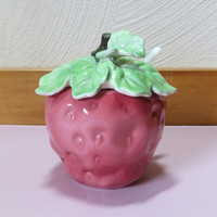 Vintage Strawberry Sugar Bowl with spoon