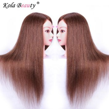 100% Real Hair Salon Head Mannequins With Long Hair Training Practice Mannequin Head Dummy Hairstyles With Stand Holder