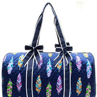 Feather Print Quilted Duffel Bag - 2 Color Choices