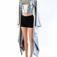Silver Holographic Kimono Sleeve Crop Top with Crew Neckline (Top Only) Rave Festival Cosplay Wings  152464