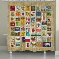 Vintage Stamps Shower Curtain