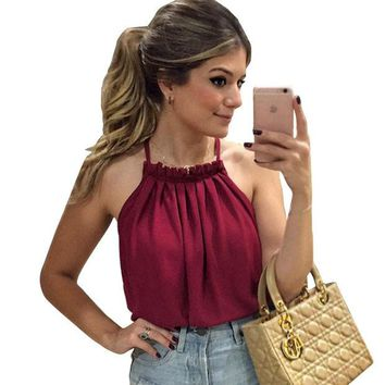 LMF9GW 2016 New sexy women blouses plus size off shoulder chiffon blouse tops casual Slash neck sleeveless shirts women tops