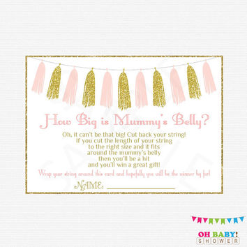 How Big is MUMMY'S Belly? Pink and Gold Baby Shower Printable Games, Baby Shower String Game Girl, Glitter Tassels, Instant Download, TASPG