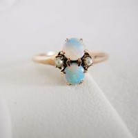 Antique 14k solid rose gold double opal and pearl ring vintage two stone style