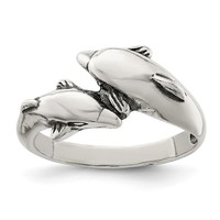 Sterling Silver Antique Finish Double Dolphin Ring
