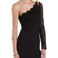 Black One Shoulder Lace Bodycon Dress by Charlotte Russe
