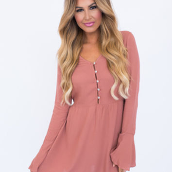Dusty Rose Button Front Dress
