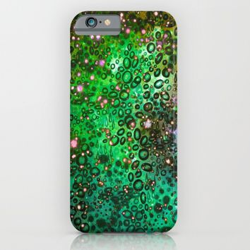 RAINBOW DOTTY OCEAN 3 Green Lime Ombre Space Galaxy Colorful Polka Dot Bubbles Abstract Painting Art iPhone & iPod Case by EbiEmporium