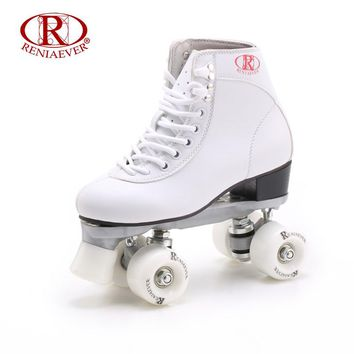 RENIAEVER Roller Skates Double Line Skates White Women Female Lady Adult With White PU 4 Wheels Two line Skating Shoes Patines