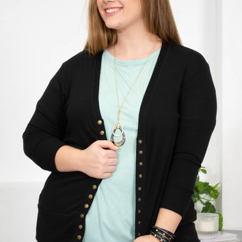 Any Day Button Long Sleeve Cardigan | Black | Plus