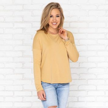Angelina Jersey Top in Mustard