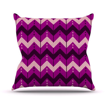 "Nick Atkinson ""Chevron Dance Purple"" Outdoor Throw Pillow"