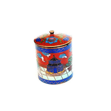 Vintage Asian Small Jewelry Trinket Box Brass Blue With Lid Miniature