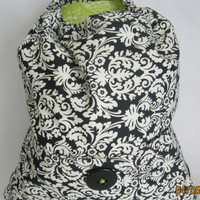 Black & White Backpack with Lime Green Lining