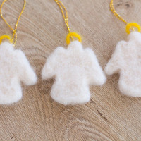 Needle Felted Angel Ornament- Set of 3 Angel Ornament- Needle Felted Christmas Tree Ornament- Needle Felted Angel Decoration- Needle Felted