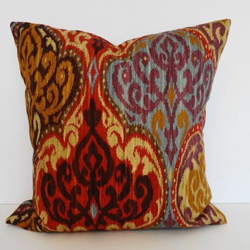 Ikat Decorative Throw Pillow Cover, P Kaufmann Fabric, Gold, Red, Brown, Blue, Purple,16 x 16