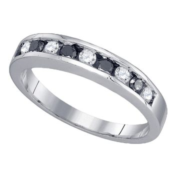 10kt White Gold Womens Round Black Color Enhanced Diamond Band Ring 1/2 Cttw