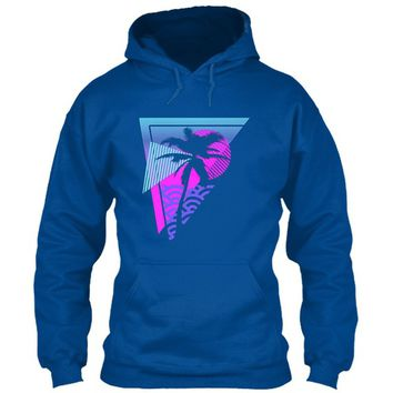 Vaporwave-aesthetic-palm-tree-triangle Gildan Hoodie Sweatshirt