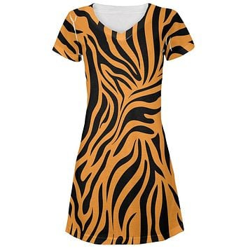 Zebra Print Orange Juniors V-Neck Beach Cover-Up Dress