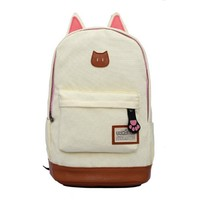 Surker Cute Cartoon Cat Ear Style Canvas College Rucksack School Bag
