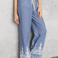 Ivyridge Embroidered Palazzo Pants